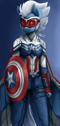 Size: 1080x2250 | Tagged: safe, artist:raphaeldavid, night glider, pegasus, anthro, captain america, clothes, female, goggles, mare, marvel cinematic universe, marvel comics, shield, solo, suit
