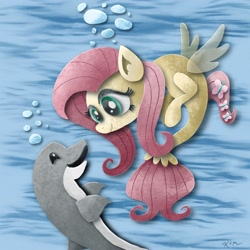 Size: 2048x2048 | Tagged: safe, artist:catscratchpaper, fluttershy, dolphin, seapony (g4), female, high res, not finn tastic, seaponified, seapony fluttershy, solo, species swap, underwater
