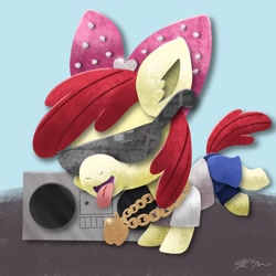 Size: 2048x2048 | Tagged: safe, artist:catscratchpaper, apple bloom, earth pony, pony, boombox, clothes, female, filly, high res, jewelry, necklace, pants, shirt, solo, sunglasses, tongue out
