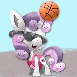 Size: 2048x2048 | Tagged: safe, artist:catscratchpaper, sweetie belle, pony, unicorn, basketball, clothes, female, filly, high res, horn, horn impalement, jersey, solo, sports, sunglasses