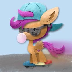 Size: 2048x2048 | Tagged: safe, artist:catscratchpaper, scootaloo, pegasus, pony, backwards ballcap, baseball cap, bubblegum, cap, female, filly, food, gum, hat, high res, skateboard, solo, sunglasses