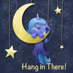 Size: 2048x2048   Tagged: safe, artist:catscratchpaper, princess luna, alicorn, pony, crescent moon, female, filly, hang in there, hanging, high res, moon, solo, tangible heavenly object, woona, younger