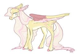 Size: 1280x936 | Tagged: safe, artist:slushipuppii, fluttershy, pegasus, pony, female, mare, simple background, solo, tail feathers, unshorn fetlocks, white background