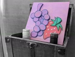 Size: 1920x1482 | Tagged: safe, artist:themisto97, berry punch, berryshine, acrylic painting, background, chest, cutie mark, grayscale, laser cutting, monochrome, no pony, photo, photoshop, photoshop edit, traditional art