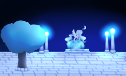 Size: 1280x768 | Tagged: safe, artist:pixels-and-ponies, princess luna, pony, night, solo, statue