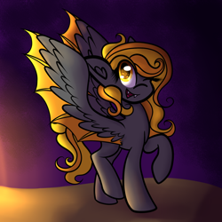 Size: 1280x1280 | Tagged: safe, artist:pixels-and-ponies, oc, oc:pumpkin, bat pony, pony, female, mare, one eye closed, solo, wink