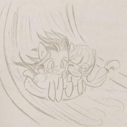 Size: 1280x1280 | Tagged: safe, artist:snowzaaah, applejack, rainbow dash, earth pony, pegasus, pony, appledash, appledashdailydoodles, doodle, female, lesbian, monochrome, pencil drawing, shipping, sketch, traditional art