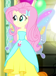 Size: 398x540   Tagged: safe, screencap, fluttershy, a photo booth story, eqg summertime shorts, equestria girls, bare shoulders, beautiful, butterfly wings, clothes, cropped, dress, fall formal outfits, sleeveless, solo, strapless, wings