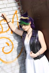 Size: 4000x6000 | Tagged: safe, artist:starfallcosplay, rarity, human, alternate hairstyle, clothes, cosplay, costume, irl, irl human, jewelry, necklace, photo, punk, raripunk, solo, tattoo