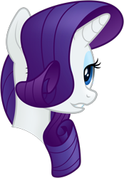 Size: 4500x6447 | Tagged: safe, artist:negatif22, rarity, pony, mmmystery on the friendship express, absurd resolution, bust, female, hair over one eye, mare, portrait, simple background, smiling, solo, transparent background, vector