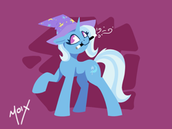Size: 2125x1597 | Tagged: safe, artist:supermoix, trixie, pony, unicorn, clothes, female, floppy ears, magic, mare, minimalist, mouth hold, shirt, solo, t-shirt, wand