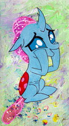 Size: 720x1318 | Tagged: safe, artist:aquilateagle, ocellus, changedling, changeling, cute, diaocelles, female, happy, painting, solo, squishy cheeks, teenager