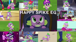 Size: 1280x722 | Tagged: safe, edit, edited screencap, editor:quoterific, screencap, pinkie pie, sci-twi, spike, spike the regular dog, sunset shimmer, twilight sparkle, dog, dance magic, eqg summertime shorts, equestria girls, equestria girls series, forgotten friendship, friendship games, i'm on a yacht, legend of everfree, lost and pound, my little shop of horrors, pet project, rarity investigates: the case of the bedazzled boot, reboxing with spike!, spoiler:eqg series (season 2), spoiler:eqg specials, backpack, beach, blushing, camp everfree outfits, collar, cute, female, hat, lost and pound: spike, male, open mouth, puffy cheeks, rarity investigates (eqg): trixie, smiling, spikabetes, tongue out