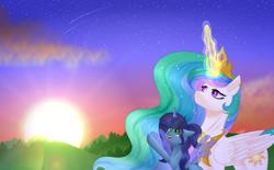 Size: 4040x2500 | Tagged: safe, artist:starflightsparkleyt, princess celestia, oc, oc:savannah london, alicorn, pony, female, magic, mare, sun work