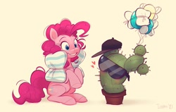 Size: 957x609   Tagged: safe, artist:imalou, pinkie pie, earth pony, pony, balloon, blushing, cactus, cute, diapinkes, glasses, hat, heart, party balloon, pillow, sunglasses