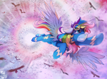 Size: 1400x1048 | Tagged: safe, artist:foxinshadow, bird, pegasus, pony, fanfic:a pegasus promise, commission, fanfic art, flying, not rainbow dash, solo, spread wings, wings
