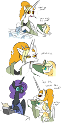 Size: 825x1662 | Tagged: safe, artist:jargon scott, oc, oc only, oc:dyx, oc:dyxkrieg, oc:nyx, alicorn, pony, alicorn oc, bathrobe, book, cigarette, clothes, comic, dialogue, dishes, escii keyboard, female, filly, glasses, horn, magical lesbian spawn, mare, mother and child, mother and daughter, offspring, older, older dyx, older nyx, parent:oc:dyx, parent:oc:luftkrieg, parents:oc x oc, robe, simple background, sink, smoking, sponge, typewriter, washing, white background, wings
