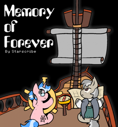 Size: 952x1024 | Tagged: safe, artist:zutcha, oc, oc only, oc:professor dyson, oc:spellsong, bat pony, pony, unicorn, fanfic:friendship is optimal, fanfic art, sail, ship, ship wheel