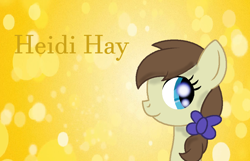 Size: 916x591 | Tagged: safe, artist:princessdaisyofficialchannel, heidi hay, earth pony, pony, abstract background, background pony, bow, cute, female, filly, heidibetes, signature, simple background, smiling, text, wallpaper, yellow background, yellow text