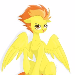 Size: 1600x1600 | Tagged: safe, spitfire, pegasus, pony, female, mare, raised hoof, solo, wonderbolts
