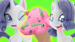 Size: 1280x720 | Tagged: safe, screencap, rarity, pony, unicorn, worm, 3d, ice cream cone, play doh, rarity's best ice cream ever, stop motion, youtube link, youtube thumbnail