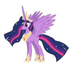 Size: 2275x2144 | Tagged: safe, artist:candyandflurry, twilight sparkle, alicorn, pony, the last problem, crown, cutie mark, ethereal mane, ethereal tail, hoof shoes, jewelry, older, older twilight, peytral, princess shoes, princess twilight 2.0, regalia, simple background, solo, spread wings, standing, starry mane, starry tail, transparent background, twilight sparkle (alicorn), wings