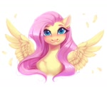 Size: 1024x838 | Tagged: safe, artist:spark_rarestar, fluttershy, pegasus, pony, :3, blushing, bust, chest fluff, cute, daaaaaaaaaaaw, feather, female, grin, lip bite, looking at you, mare, portrait, shyabetes, simple background, smiling, solo, spread wings, white background, wings