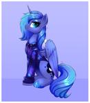 Size: 3399x3882 | Tagged: safe, artist:ravensunart, princess luna, alicorn, pony, clothes, hoodie, s1 luna, sitting, solo