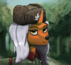 Size: 1280x1165 | Tagged: safe, artist:monx94, oc, original species, forest, long mane, looking at you, military, polish, solo