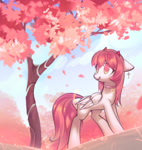 Size: 3005x3174 | Tagged: safe, artist:mirroredsea, oc, oc:asuka, pegasus, pony, cherry blossoms, cross earrings, double wings, ear piercing, earring, flower, flower blossom, horns, jewelry, multiple wings, pegasus oc, piercing, solo, star of david, tree, wings