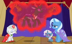 Size: 1280x779 | Tagged: safe, artist:kittypaintyt, pharynx, trixie, oc, oc:florynx, oc:rosie mery, changedling, changeling, changepony, hybrid, base used, family, female, interspecies offspring, male, offspring, parent:pharynx, parent:prince blueblood, parent:trixie, parents:bluetrix, parents:phartrix, phartrix, prince pharynx, shipping, straight