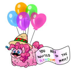 Size: 1129x1070 | Tagged: safe, artist:paperbagpony, pinkie pie, pony, balloon, banner, cute, diapinkes, fake moustache, female, floating, fluffy, happy, mare, noisemaker, party horn, pinkie being pinkie, sombrero, then watch her balloons lift her up to the sky