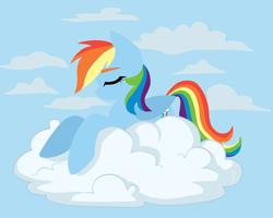 Size: 2500x2000 | Tagged: safe, artist:hellishnya, rainbow dash, pegasus, pony, cloud, cute, dashabetes, eyes closed, female, lineless, lying down, mare, on a cloud, prone, sky, solo