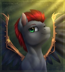 Size: 1086x1200 | Tagged: safe, artist:megabait, oc, pegasus, pony, artificial wings, augmented, bust, mechanical wing, portrait, wings