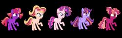 Size: 9395x2940 | Tagged: safe, artist:doctor-nasty-adopts, artist:lanternomega, oc, oc only, earth pony, pegasus, pony, unicorn, absurd resolution, base used, female, filly, offspring, parent:big macintosh, parent:fluttershy, parent:pinkie pie, parent:rainbow dash, parent:rarity, parent:twilight sparkle, parents:fluttermac, parents:pinkiemac, parents:rainbowmac, parents:rarimac, parents:twimac, simple background, transparent background