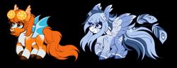 Size: 4517x1757 | Tagged: safe, artist:inspiredpixels, oc, oc only, bat pony, pegasus, pony, female, mare, simple background, transparent background