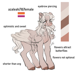 Size: 1763x1710 | Tagged: safe, artist:birdbiscuits, oc, oc:azaleah, pegasus, pony, female, mare, reference sheet, solo