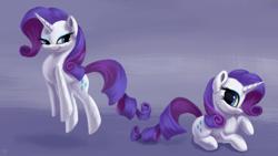 Size: 3000x1688 | Tagged: safe, artist:flusanix, rarity, pony, unicorn, behaving like a cat, female, high res, mare