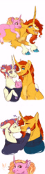 Size: 1920x7352 | Tagged: safe, artist:glorymoon, luster dawn, moondancer, sunburst, pony, baby, baby luster dawn, baby pony, clothes, curved horn, female, horn, male, offspring, parent:moondancer, parent:sunburst, parents:sundancer, shipping, simple background, straight, sundancer, sweater, tongue out, white background, younger