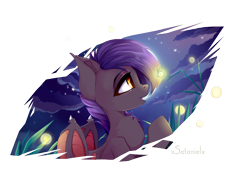 Size: 3600x2592 | Tagged: source needed, safe, artist:xsatanielx, oc, oc only, oc:dawn sentry, bat pony, firefly (insect), insect, pony, bat wings, female, mare, moon, night, solo, wings