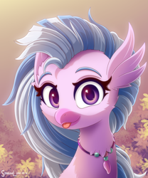 Size: 2000x2400   Tagged: safe, artist:symbianl, silverstream, classical hippogriff, hippogriff, :p, bust, cheek fluff, cute, diastreamies, female, high res, looking at you, portrait, solo, tongue out
