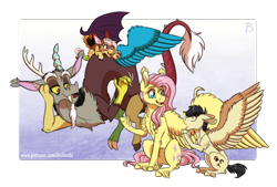 Size: 1822x1231 | Tagged: safe, artist:inuhoshi-to-darkpen, discord, fluttershy, oc, oc:gusty, oc:serenity, draconequus, pegasus, chest fluff, draconequus oc, ear fluff, meeting, open mouth, parent:daring do, parent:discord, parent:fluttershy, pegasus oc, wing fluff