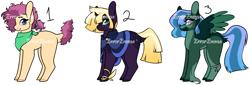 Size: 3705x1261 | Tagged: safe, artist:erroremma, oc, earth pony, pegasus, pony, unicorn, adoptable, adopts