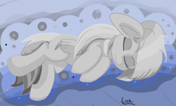 Size: 3708x2221 | Tagged: safe, artist:vinca, oc, oc:scaley, pegasus, pony, female, mare, sleeping, solo, wings