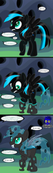 Size: 3840x12462 | Tagged: safe, artist:damlanil, oc, oc:nightlight aura, changeling, pegasus, pony, changeling hive, comic, commission, female, hive, horn, implied crysalis, magic, mare, offscreen character, shiny mane, show accurate, story, text, transformation, vector, wings