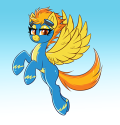 Size: 3980x4148   Tagged: safe, artist:confetticakez, spitfire, pegasus, pony, clothes, cute, cutefire, flying, goggles, looking at you, sexy, simple background, solo, spread wings, stupid sexy spitfire, uniform, wings, wonderbolts uniform