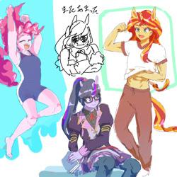 Size: 1024x1024 | Tagged: safe, artist:misochikin, applejack, pinkie pie, sci-twi, sunset shimmer, twilight sparkle, equestria girls, uma musume pretty derby