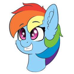 Size: 4000x4000 | Tagged: safe, artist:yelowcrom, rainbow dash, pegasus, pony, bust, cheek fluff, cute, ear fluff, female, simple background, solo, transparent background