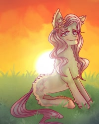 Size: 732x915 | Tagged: safe, artist:venera___o, fluttershy, pegasus, pony, female, flower, flower in hair, fluffy, grass, mare, outdoors, sitting, smiling, solo, sunset, wingless