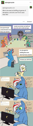 Size: 931x3467 | Tagged: safe, artist:ask-luciavampire, oc, earth pony, pegasus, pony, unicorn, ask, ask-ponys-gamer-club, games, tumblr